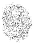 Koi carp coloring book for adults vector Royalty Free Stock Photography