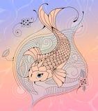 Koi Carp Fish dans un croquis de tatouage d'étang Photo libre de droits