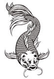 Koi Carp Fish. An original illustration of a koi carp fish in a vintage woodcut style Royalty Free Stock Image