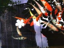 Koi Carp. Koi fish carp swim in the pond Stock Photo