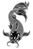 Koi Carp Fish Woodcut Style royalty free illustration