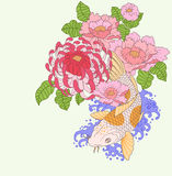 Koi carp and flowers. Vector illustration of a koi carp and flowers Royalty Free Stock Photo