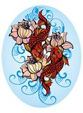 Koi carp with flowers. Hand drawn fish (Koi carp) with flowers - symbol of harmony and wisdom Stock Photography