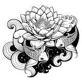 Koi carps in pond. Artistic illustration of koi carps in tattoo style Stock Photography