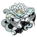 Koi carps in pond. Artistic illustration of koi carps in tattoo style Stock Photos