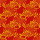 Koi carps seamless texture. Vector seamless red and yellow pattern with japanese carps koi - symbol of luck, love and independence Stock Photography