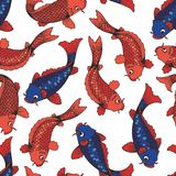 The koi carps. Vector seamless pattern on white background. Hand drawing for design and decoration Stock Image