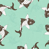 Koi chinese carp seamless pattern. Vector blue background with fish.  Stock Image