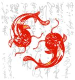 Koi chinois/carpe illustration libre de droits