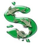 Koi de trois billets verts au-dessus de symbole dollar Photo stock