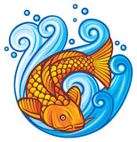 Koi fish. In the sea waves, vector illustration of a japanese or chinese inspired koi carp fish Royalty Free Stock Photo
