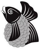 Koi Fish Black ed illustrazione bianca di vettore Fotografia Stock Libera da Diritti