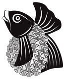 Koi Fish Black and White vector Illustration Royalty Free Stock Photography