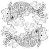 Koi fish. Chinese carps. Pisces. Adult antistress coloring page