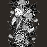 Koi fish and chrysanthemum pattern by hand drawing. Tattoo art highly detailed in line art style.Fish and flower seamless pattern on batik cloth Royalty Free Stock Images