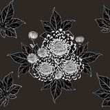 Koi fish and chrysanthemum pattern by hand drawing. Tattoo art highly detailed in line art style.Fish and flower seamless pattern on batik cloth Royalty Free Stock Photos