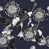 Koi fish and chrysanthemum pattern by hand drawing. Tattoo art highly detailed in line art style.Fish and flower seamless pattern on batik cloth Stock Photography