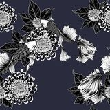 Koi fish and chrysanthemum pattern by hand drawing. Tattoo art highly detailed in line art style.Fish and flower seamless pattern on batik cloth Stock Image