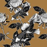 Koi fish and chrysanthemum pattern by hand drawing. Tattoo art highly detailed in line art style.Fish and flower seamless pattern on batik cloth Royalty Free Stock Image