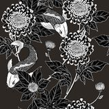 Koi fish and chrysanthemum pattern by hand drawing. Tattoo art highly detailed in line art style.Fish and flower seamless pattern on batik cloth Stock Photos