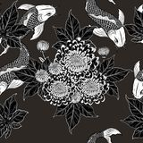 Koi fish and chrysanthemum pattern by hand drawing. Tattoo art highly detailed in line art style.Fish and flower seamless pattern on batik cloth Royalty Free Stock Photo