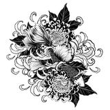 Koi fish and chrysanthemum tattoo by hand drawing. Tattoo art highly detailed in line art style Stock Images