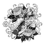 Koi fish and chrysanthemum tattoo by hand drawing Stock Photo
