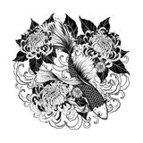 Koi fish and chrysanthemum tattoo by hand drawing Stock Image