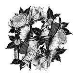Koi fish and chrysanthemum tattoo by hand drawing Stock Photography