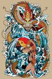 Koi fish and dragon gate illustration according asian myth. Golden dragon and koi carp fish which is trying to reach the top of the waterfall. Tattoo style Stock Images