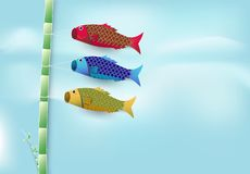 Koi fish flag flying on branch of Japnaese festival background. Paper cut, paper art illustration Royalty Free Stock Photography