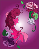 Koi Fish and Flowers. Drawing of a koi fish swimming with flowers around it Stock Photography