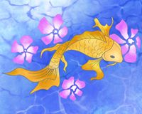 Koi fish with flowers abstract. stock illustration