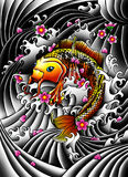 Koi fish with flowers. Japan style koi fish design, with background and flowers Stock Images