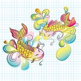Koi fish - hand drawn illustration Royalty Free Stock Images