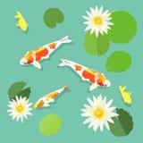 Koi fish and lotus, swimming carp fish, vector, illustration. Koi fish and lotus, swimming carp fish, vector illustration Stock Photography
