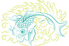 Koi Fish ornament. Beautiful vector ornament with koi fish, traditional Japanese art Stock Images