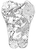 Koi fish with peony flower and wave tattoo,Japanese tattoo for Back body. Hand drawn Koi fish with peony flower and wave tattoo,Japanese tattoo for Back body Stock Images