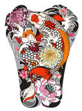 Koi fish with peony flower and wave tattoo,Japanese tattoo for Back body. Hand drawn Koi fish with peony flower and wave tattoo,Japanese tattoo for Back body Royalty Free Stock Images