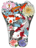 Koi fish with peony flower and wave tattoo,Japanese tattoo for Back body. Hand drawn Koi fish with peony flower and wave tattoo,Japanese tattoo for Back body Stock Photo