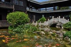 Koi fish pond Shangri La Guilin Yangshuo Guangxi Royalty Free Stock Photography