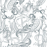 Koi fish seamless pattern. Koi pattern. Hand drawn Koi fish seamless pattern. Vector japanese carp ilustration Stock Image