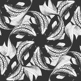 Koi fish seamless pattern. Vector illustration of a koi fish seamless pattern. Black and white handdrawn style Stock Photos