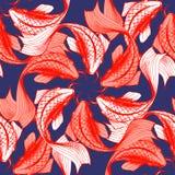 Koi fish seamless pattern. Vector illustration of koi fish seamless pattern. Japaneese style print, optical illusion. Dark blue background, bright red elements Stock Photos