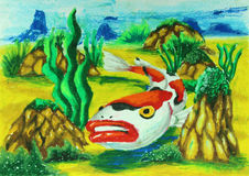 Koi fish swiming in water painting. Background Royalty Free Stock Photos