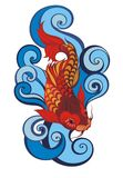 Koi fish tattoo. Colorful Koi fish tattoo with waves Royalty Free Stock Images