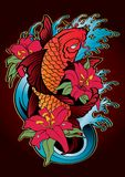 Koi fish Tattoo Japanese style color Stock Photography