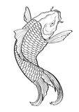 Koi fish Tattoo Japanese style lined pattern Stock Images