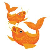 Two Koi Fish Illustration Vector Drawing Color stock photo