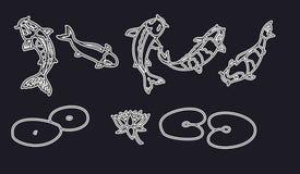 Koi fish vector set on black background Stock Images